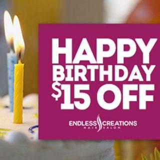Happy Birthday $15 Off